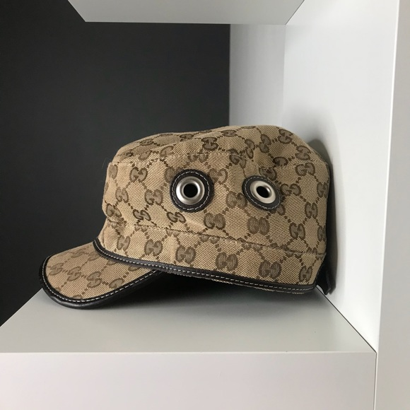 7ac44045a45 Gucci Accessories - Authentic GUCCI beige GG canvas MILITARY hat - L